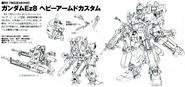 RX-79Ez-8 HAC Gundam Ez8 Heavy Armed Custom Back and Front lineart