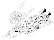 XXXG-00W0 Wing Gundam Zero Neo-Bird Mode Bottom View Lineart