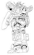 XXXG-01H2 Gundam Heavyarms Custom Back View Lineart