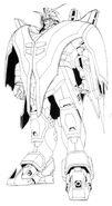 XXXG-01D2 Gundam Deathscythe Hell Front View Lineart
