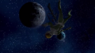 Dozle Zabi's corpse floating in space