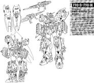 F90D Gundam F90 Destroid Type Lineart