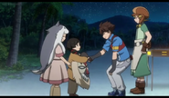 Miyu shake hands with Riku