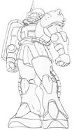MS-06S Zaku II Commander Type Lineart