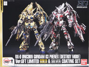 HG Unicorn Gundam 03 Phenex Destroy Mode Silver Gold Plating Ver.GFT Set