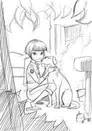 Paz and Dog Sketch