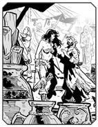 Bazaar barbarian woman and merchant man