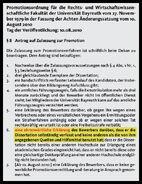 Promotionsordnung für die Rechts- und Wirtschaftswissenschaftliche Fakultät der Universität Bayreuth