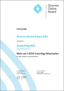 Urkunde Grimme Online Award GuttenPlag