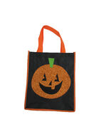 Glitter Pumpkin Halloween Trick Or Treat Tote Bag