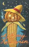 Vintage Halloween Postcard, Mr CornMan
