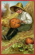 Pumpkin Carving, a Boy on the Haystack, Vintage Halloween Postcard