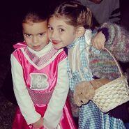Dorothy and a cheerleader, circa 2001