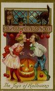 Bobbing for Apples Vintage Halloween Postcard