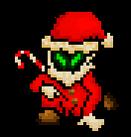 Een donker figuur met groen gloeiende ogen die een rood kerstmanpak.