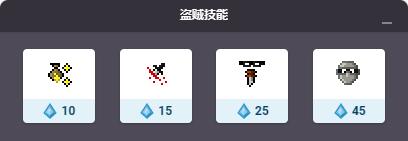 盗贼的技能包括了两个增益魔法技能,这两个技能都可以施加给队伍。