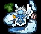 Een elektrisch blauwe humanoïde figuur is omring door wolken en afval.