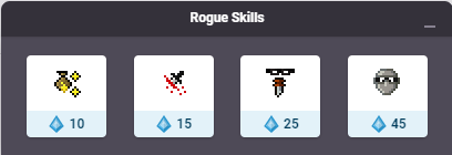 Rogue Skills, including two buffing skills of which one can be used on a party.
