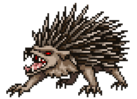 An angry hedgehog with red eyes.