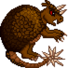 An angry armadillo with a spiky tail.