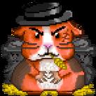 A greedy guinea pig in a black hat.