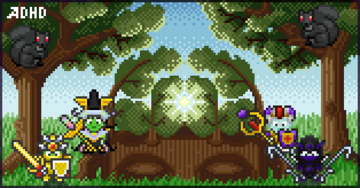 Pixel Art Guild Banner showing Habitica characters fighting distracting squirrels. Click to see more art from the artist.