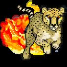 A cheetah running through flames