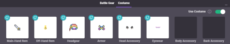 A player's costume tab.