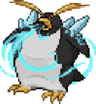 An emperor penguin with foreboding spikes on its back.