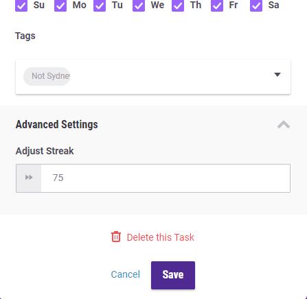 Advanced Settings for Tasks