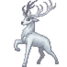 A pure white male deer.