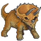 An angry triceratops with red eyes.