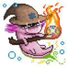 An axolotl wearing a pointy hat and holding a staff with a glowing snail shell design at one end.