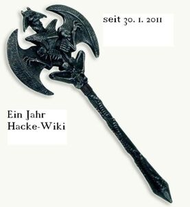 Die Axt zum 1. Jahrestag des Hacke-Wiki