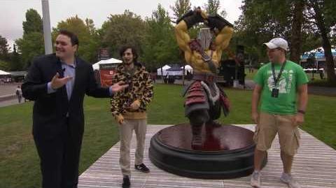 TI6 At the Event - Slacks with the Juggernaut Statue