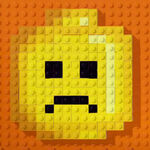 Lego credits logo minifigure sad