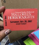 HHN 2007 Ticket