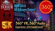 5K 360°, 360° Audio All 5 Scare Zones! Walking Tour - HHN2018, Universal Studios Orlando