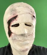 John Murdy playing Bandaged face Michael Myers for queue video that plays outside the facade of the house.
