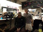 Darryl Maximilian Robinson and Alexander Peralta backstage at The House of Horrors Prepping for The Wolfman The Curse of Talbot Hall
