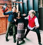 Ash Williams,Deadite Cheryl and Mr.Roper