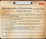 HHN 1995 Archive Registry