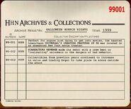 HHN 1999 Archive Registry