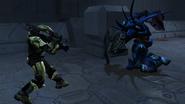 Halo Combat Evolved — Jefe Maestro enfrentandose a un Cazador