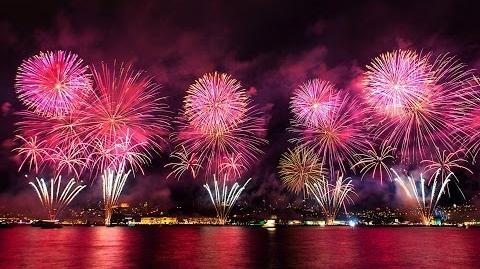 Istanbul Turkey New Year's 2015 Bosphorus Fireworks
