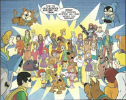 Different versions of the Scooby-Doo gang from the spin offs