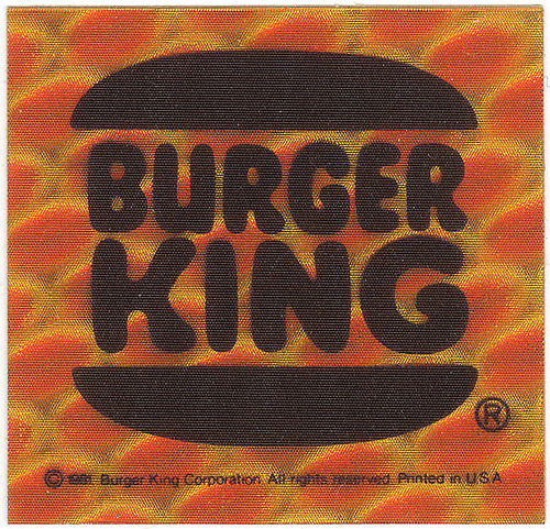 Burger King reflective bicycle stickers (Burger King, 1981)