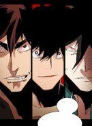 Taek, Yopy and Akira preparing to face The Masked Brute (Season 2 Episode 85)