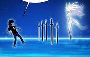 Dragon of Light giving Stone the Swords of the Five Warriors (Season 2 Episode 77).jpg