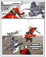 Choco Bibi uses Super Short Range Teleport on The Best Swordsman (Episode 53)